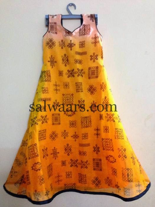Simple Printed Frock in Mustard