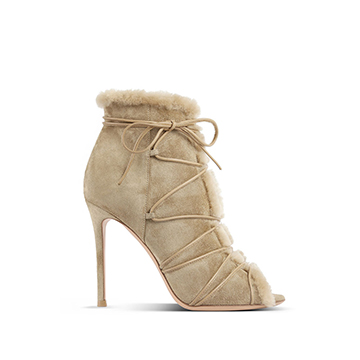 Gianvito Rossi peeptoe stiletto ankle boots with shearling