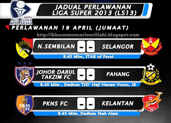 Keputusan Liga Super 19 April 2013 - Negeri Sembilan vs Selangor