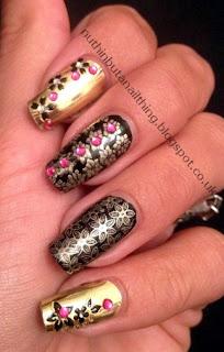 gold flower nails nail art