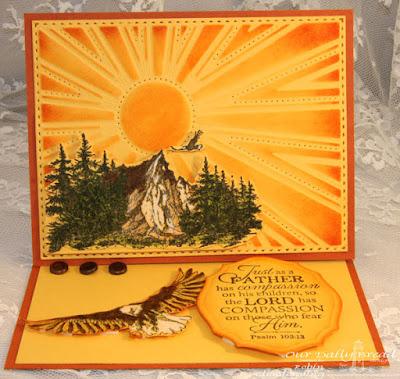 Our Daily Bread Designs, Mountain Range, Good Man, Keep Climbing, Elegant Ovals, Sunburst Background, Designed by Robin Clendenning