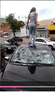 Wow! See How Pregnant Woman Destroyed Husband's Car After Catching Him With Mistress (Photos)