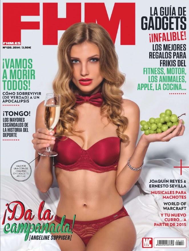 Angeline Suppiger wears lingerie for the FHM Spain December 2014 cover