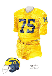 1964 University of Michigan Wolverines football uniform original art for sale