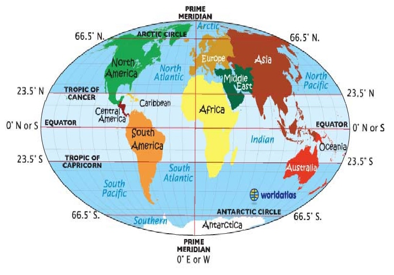 Map of World With Equator images