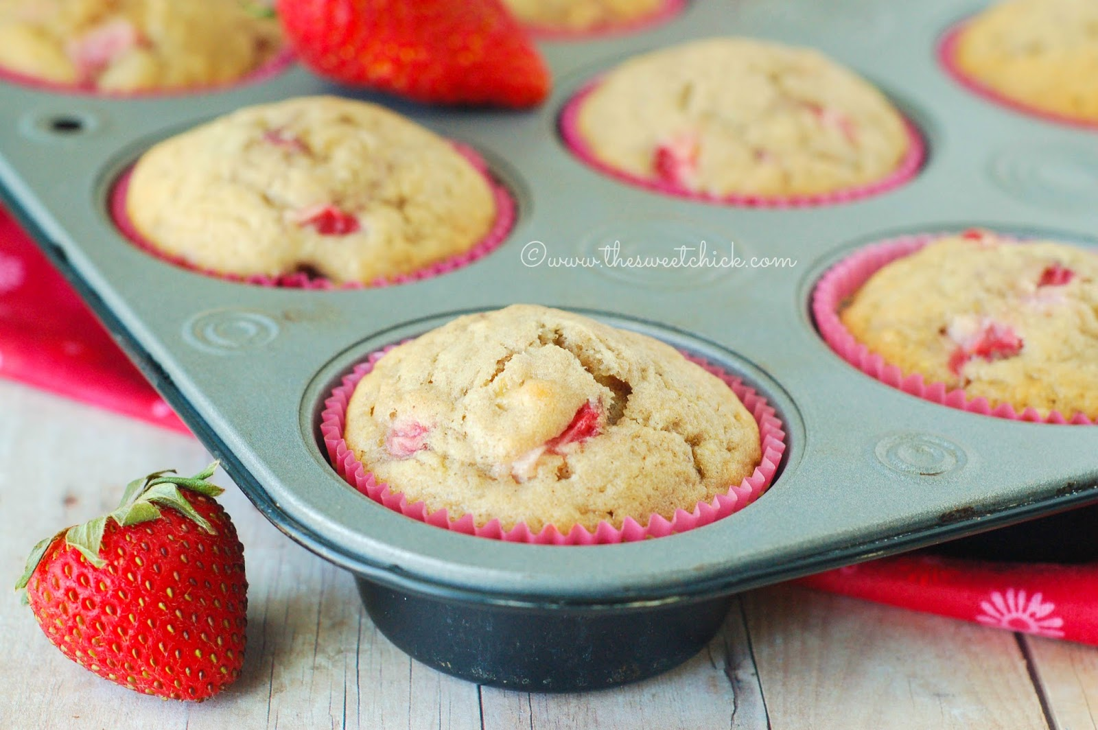 Strawberry Coconut Banana Muffins @www.thesweetchick.com
