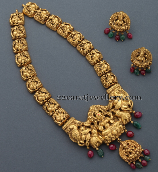 Gold Antique Necklace Nakshi Set