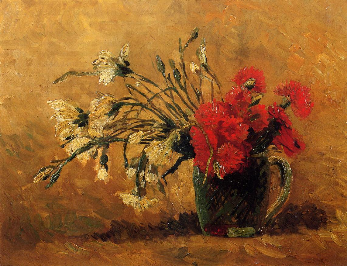 Art artists vincent van gogh flowers part 1 1886 vase with red and white carnations on a yellow background oil on canvas 40 x 52 cm reviewsmspy