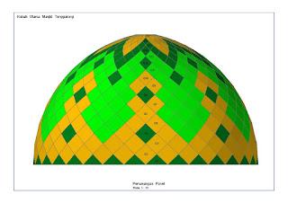 kubah, kubah masjid, space frame, enamel, atap, panel