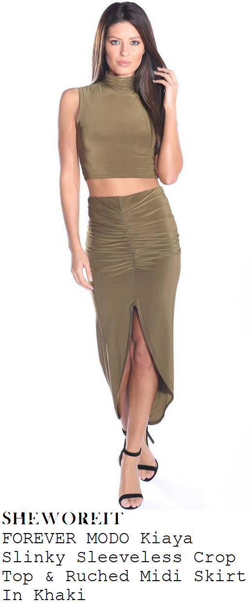 jessica-wright-green-turtle-neck-sleeveless-crop-top-and-asymmetric-midi-skirt-co-ords