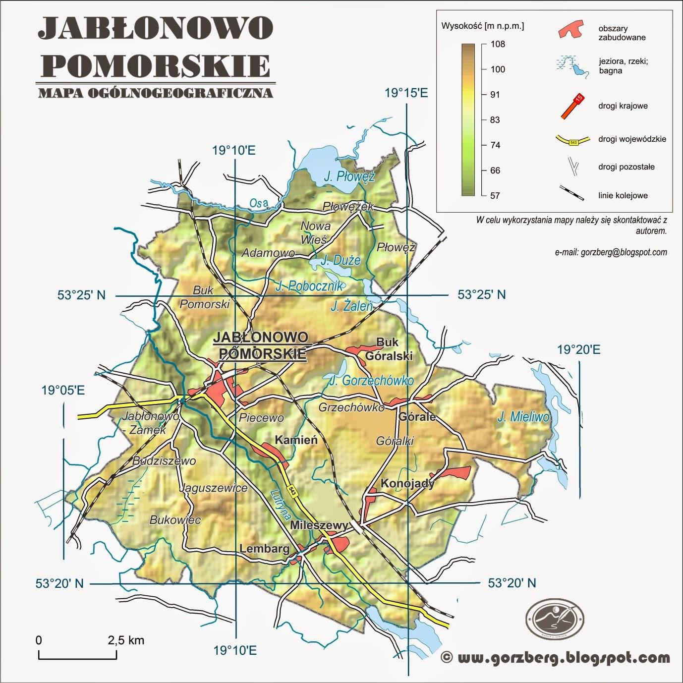 Mapa ogólnogeograficzna gminy Jabłonowo Pomorskie