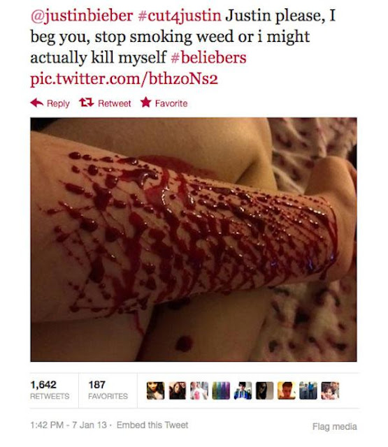 @justinbieber #cut4justin Justin please, I beg you, stop smoking weed or I might actually kill myself #beliebers pic.twitter.com/bthzoNs2