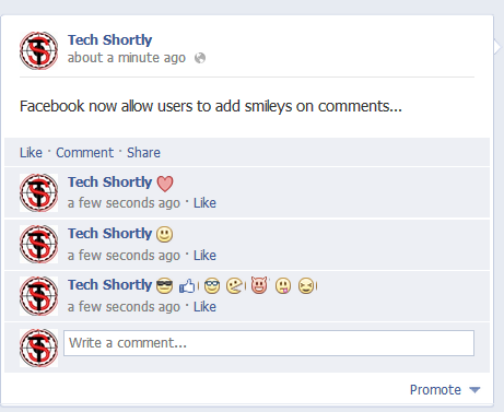 Facebook now Allow Users to Add Smileys on Comments