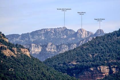 El Cogulló d'Estela, la Roca d'Auró i la Torreta dels Enginyers, tots ells en els Rasos de Peguera, vistos des de La Caseta