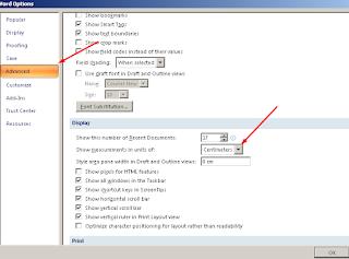 Mengubah satuan pada ms. word dan mengaktifkan text boundaries