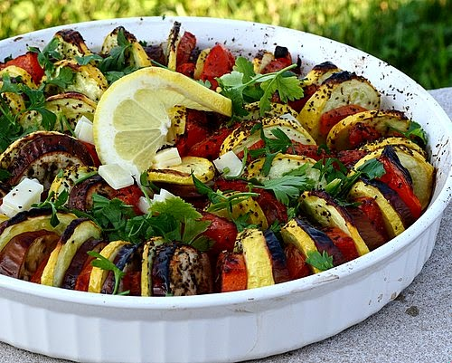 Stacked Ratatouille for a Crowd | dramatic presentation for late-summer vegetables | A Veggie Venture