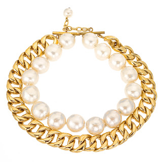 Vintage 1990's gold chain and pearl Chanel necklace.