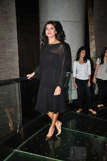 Sushmita Sen in Black Transparent Gown at Launch Of Wasan Finihsing School In Mumbai HQ Pics
