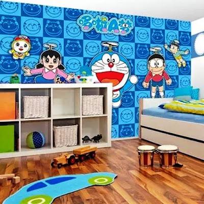 Gambar Wallpaper Dinding Kamar Tidur Anak Kartun Doraemon