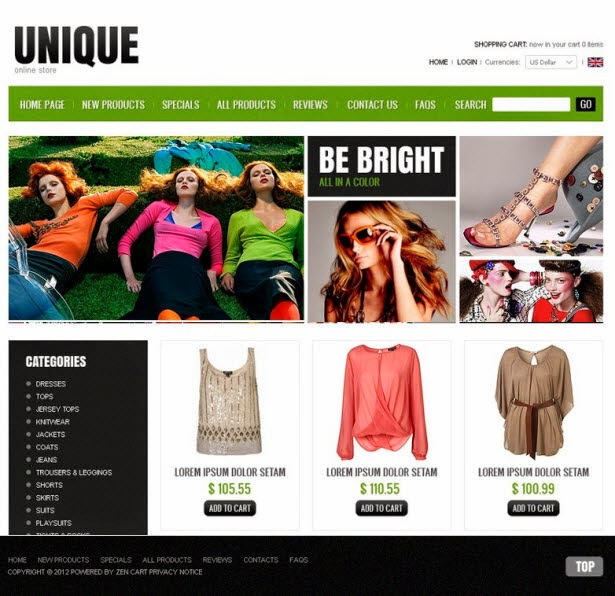 Fashionable Clothes ZenCart Template