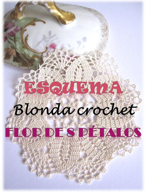 esquema blonda crochet flor de 8 pétalos descargable gratis