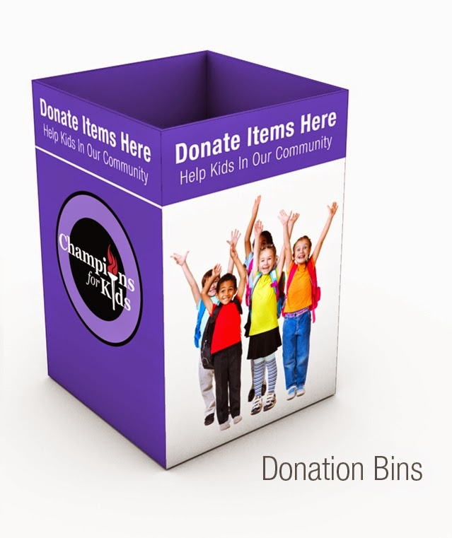 Purple donation bins at Walmart for Champions for Kids