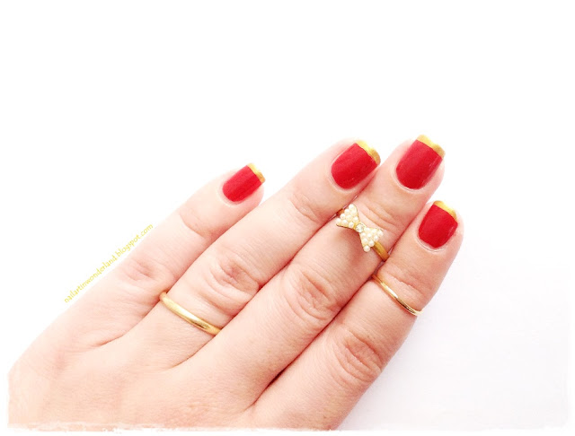 French Manikürü Nasıl Yapılır? / How to do French Manicure? – Red and Gold French Manicure