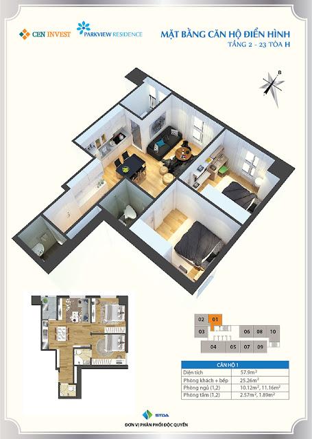 Thiết kế căn hộ 01 chung cư Park View Residence