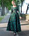 New 2016 Long Sleeve Emerald Green Rose Flare Maxi