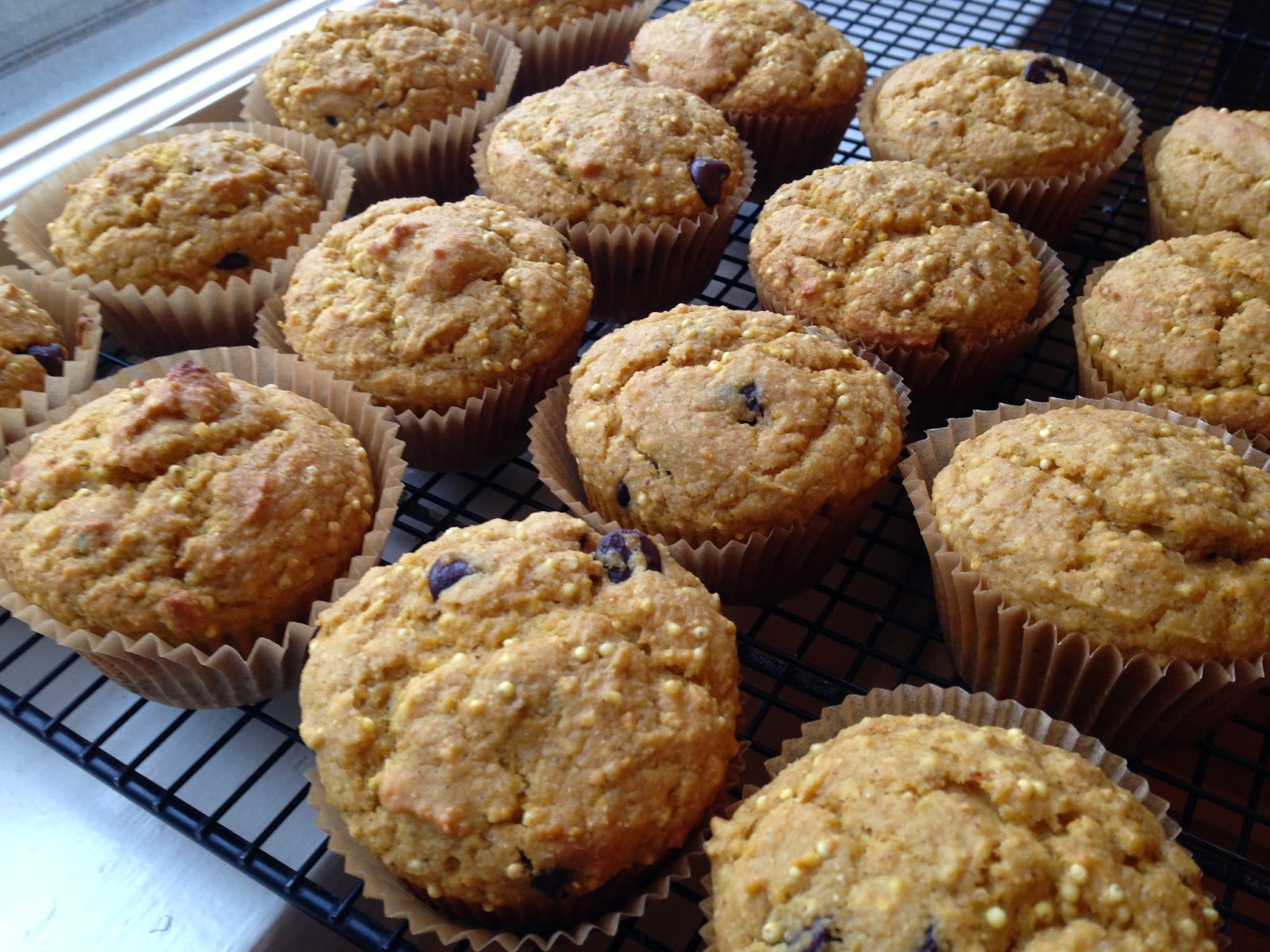 Pumpkin, Millet, and Chocolate Chip Muffins