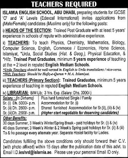 Jobs,Careers, Employment&Vacancies Ads in Pakistan: Jobs in Abu Dhabi