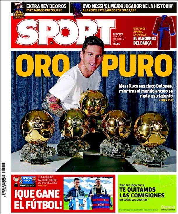Portada del periódico Sport, miércoles 13 de enero de 2016