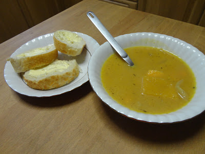 Roast Buttenut Squash Soup with Bread