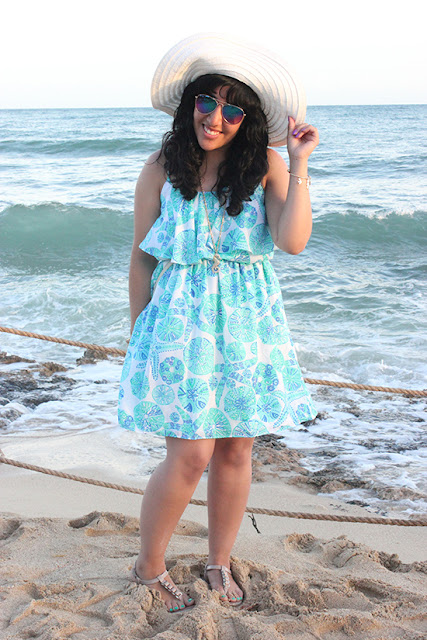 Summer Dress and Floppy Hat Beach Outfit Style