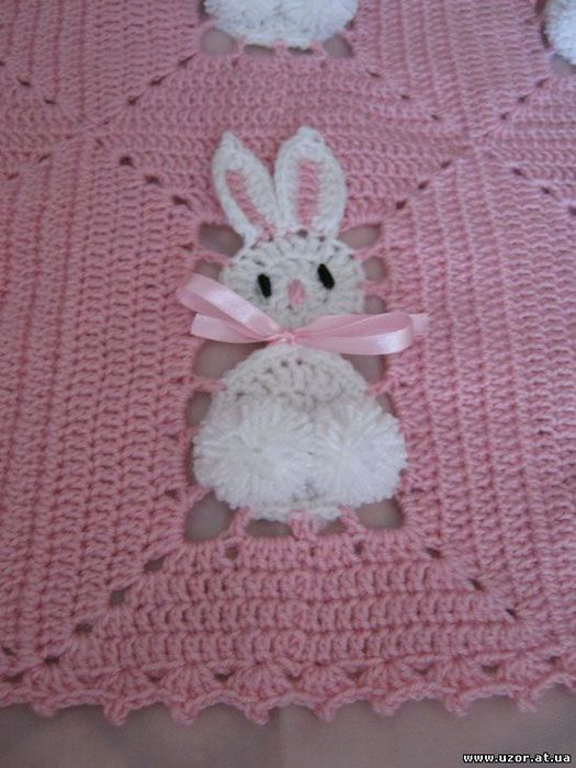 battaniyenin ekleme yeri Tavşan motifleri ile örülmüş çok şirin bebek battaniyesi