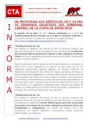 SE MODIFICAN LOS ARTÍCULOS 18 Y 24 DEL VI CONVENIO COLECTIVO DEL PERSONAL LABORAL DE LA JUNTA DE AN
