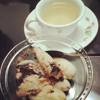Banana Split + Hot Green Tea with Lemon