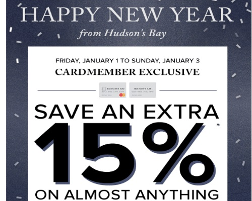 Hudson's Bay Happy New Year Save Extra 15% Off