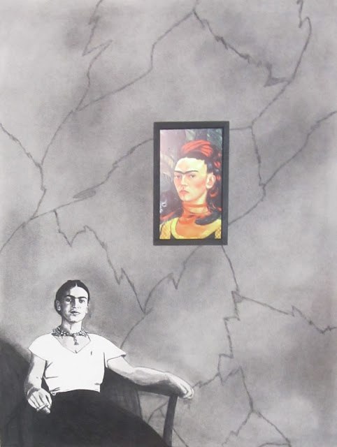"""Frida with Fridas"" Charcoal, Conte and Embedded Electronics on Paper  24x18 inches, c. 2015 - By F. Lennox Campello"
