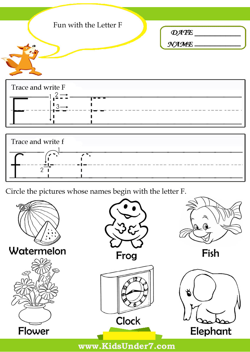 Kids Under 7 Alphabet – Letter F Worksheets for Kindergarten