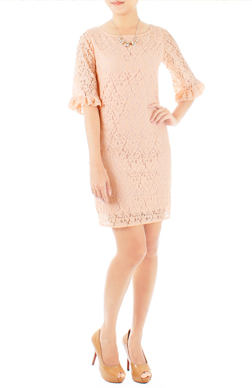 Rose pink Juliet Lace Dress with Trumpet Sleeves