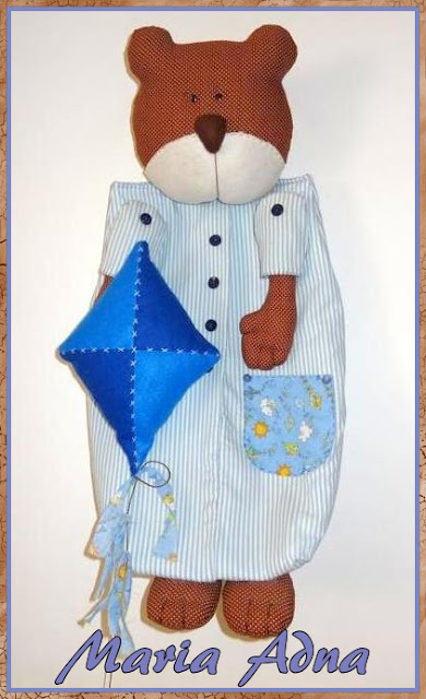 Urso em tecido, Porta-fraldas, boneco em tecido