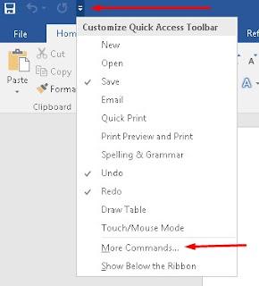 Customize Quick Acces Toolbar dan Menu More  Commands