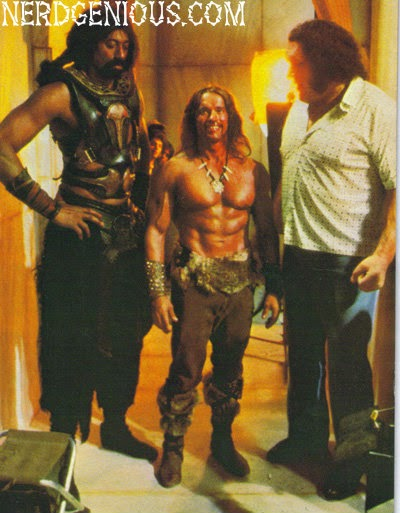 Arnie with Wilt and Andre the Giant behind the scenes of Conan