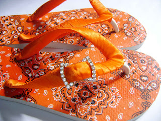 Hawaiian sandal decorated cloth bandana coral