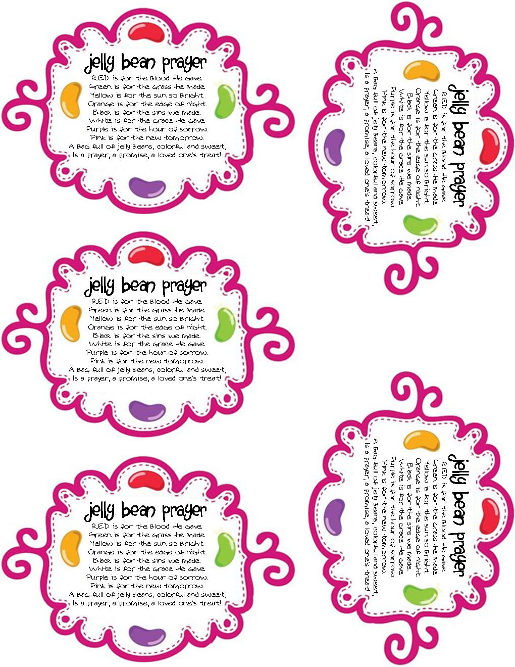 Adorable image with jelly bean prayer printable