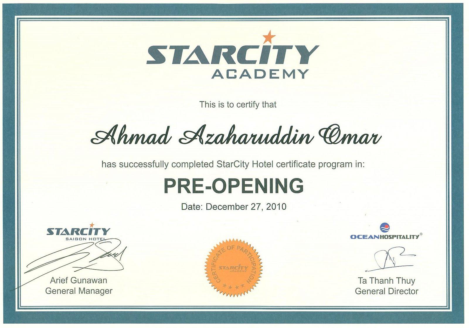 azahar curriculum vitae  pre opening certificate