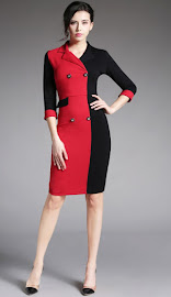 New 2016 Half Black Red Button OL Dress