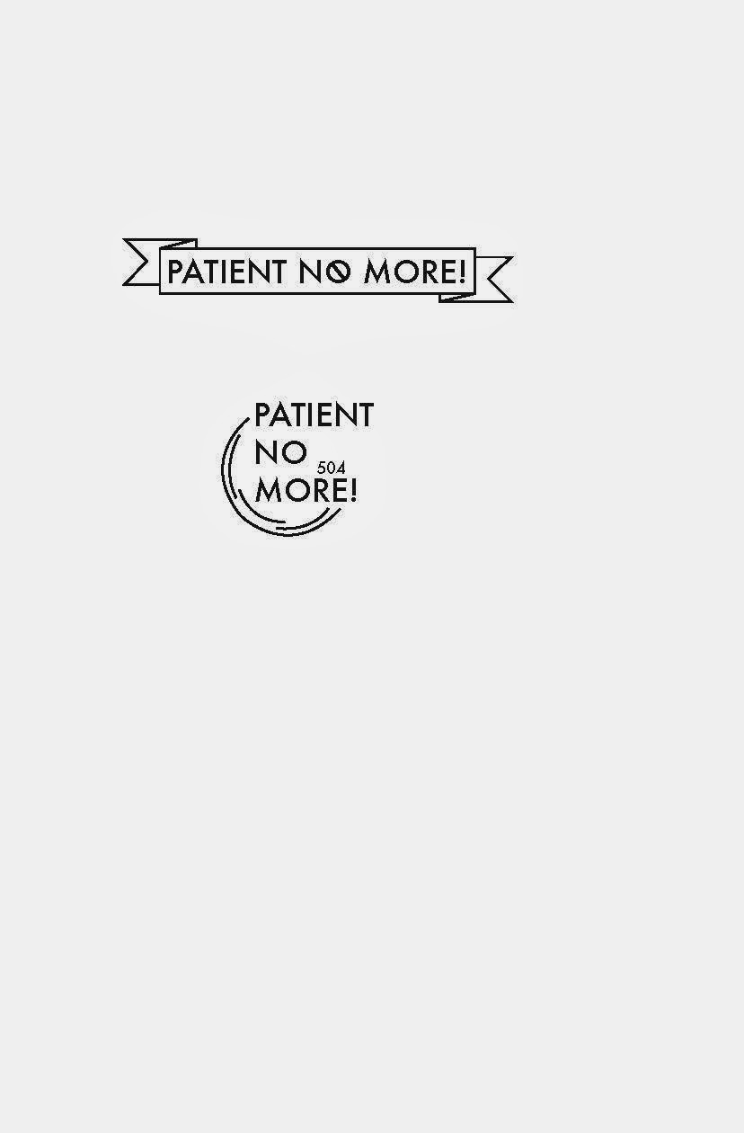 "Two illustrator renderings of ""Patient No More!"" logo sketches."