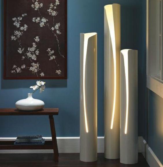 Luminárias cano PVC reuso